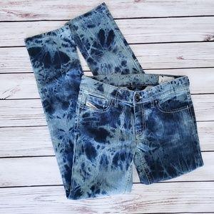 Diesel Tie Dyed Acid Wash LIV Straight Jeans 26